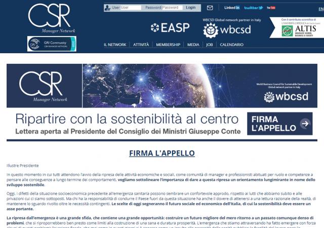 Ripartire con la sostenibilità al centro: l'appello del CSR Manager Network
