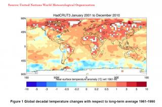 Wmo: incremento del riscaldamento climatico tra il 2001 ed il 2010