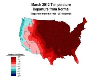 Riscaldamento climatico negli USA: a marzo 2012 + 8 °F sopra la media stagionale